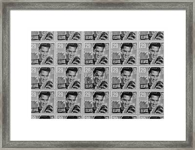 Elvis Commemorative Stamp January 8th 1993 Painted Bw Framed Print by Rich Franco