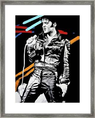 Elvis Framed Print by Luis Ludzska