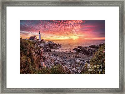 Epic Sunrise At Portland Head Light Framed Print by Benjamin Williamson