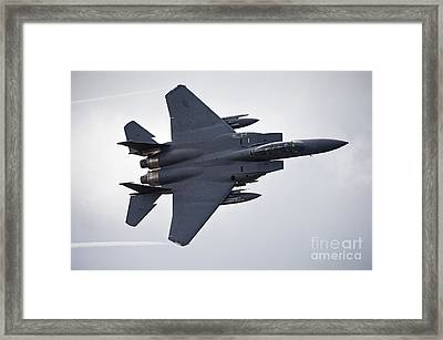 F-15e Strike Eagle Low Flying Framed Print by Andrew Chittock