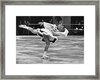 Figure Skater Melitta Brunner Framed Print by Underwood Archives