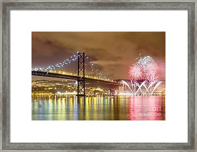 Fireworks At New Year's Eve In Lisbon Framed Print by Andre Goncalves