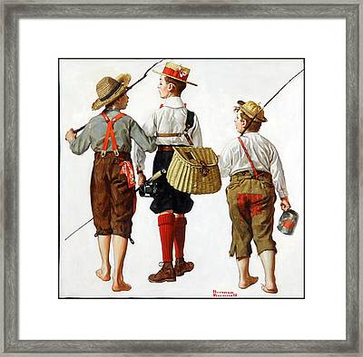 Fishing Trip Framed Print by Norman Rockwell