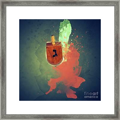 flaming Dreidel Framed Print by Ilan Rosen