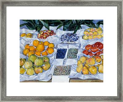 Fruit Displayed On A Stand Framed Print by Mountain Dreams