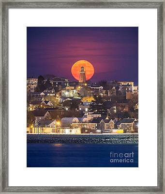 Full Moon Behind The Portland Observatory Framed Print by Benjamin Williamson