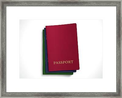 Generic Passport Stack  Framed Print by Allan Swart