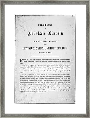 Gettysburg Address, 1863 Framed Print by Granger