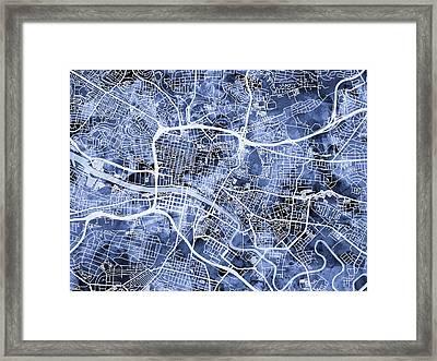 Glasgow Street Map Framed Print by Michael Tompsett