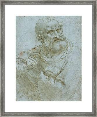 Half-length Figure Of An Apostle Framed Print by Leonardo da Vinci