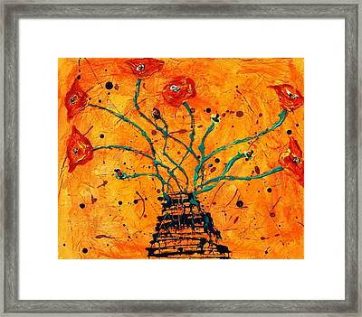 Happy Poppies  Framed Print by Victoria  Johns