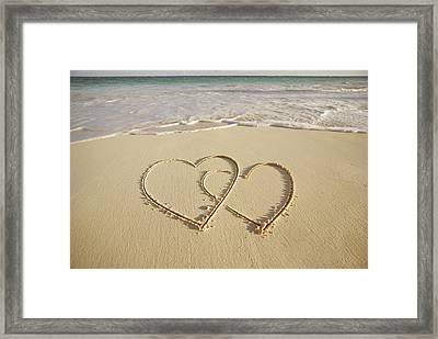 2 Hearts Drawn On The Beach Framed Print by Gen Nishino