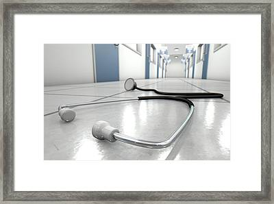 Hospital Hallway And Stethoscope Framed Print by Allan Swart