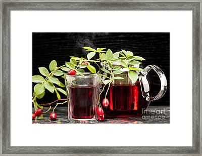 Hot Rosehip Tea In Glass Framed Print by Wolfgang Steiner