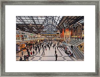 Hustle And Bustle At Liverpool Street Station Framed Print by Gill Billington