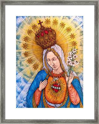 Immaculate Heart Of Virgin Mary Drawing Framed Print by Kent Chua