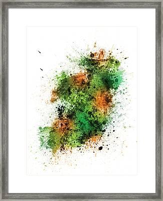 Ireland Map Paint Splashes Framed Print by Michael Tompsett