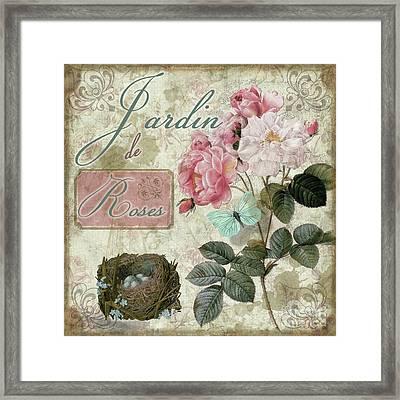 Jardin De Roses Framed Print by Mindy Sommers
