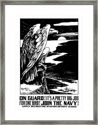 On Guard - Join The Navy Framed Print by War Is Hell Store