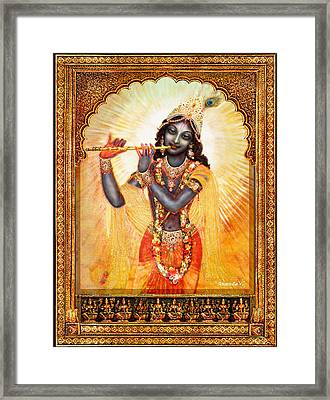 Krishna With The Flute  Framed Print by Ananda Vdovic