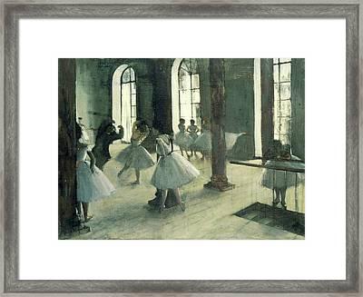La Repetition Au Foyer De La Danse Framed Print by Edgar Degas