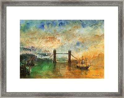 London Watercolor Painting Framed Print by Juan  Bosco