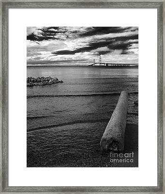 Mackinac Bridge - Infrared 01 Framed Print by Larry Carr