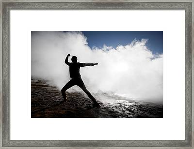 Man In The Steam At Namaskard- Framed Print by Panoramic Images