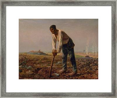 Man With A Hoe Framed Print by Jean Francois Millet
