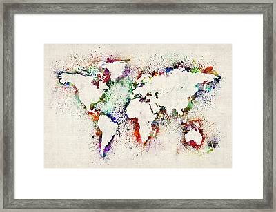 Map Of The World Paint Splashes Framed Print by Michael Tompsett