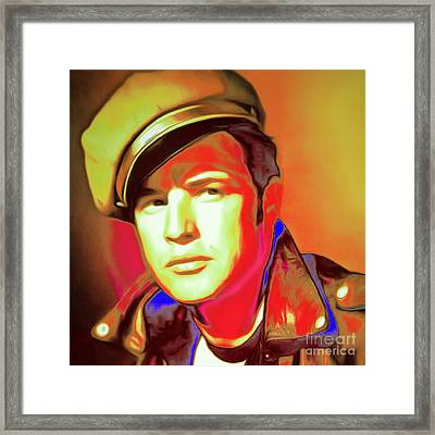Marlon Brando The Wild One 20160116 Square V2 Framed Print by Wingsdomain Art and Photography