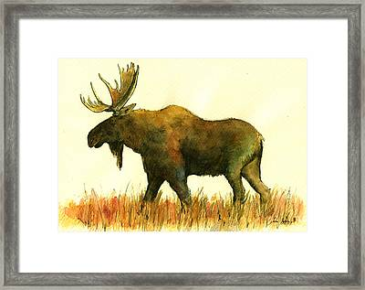 Moose Framed Print by Juan  Bosco