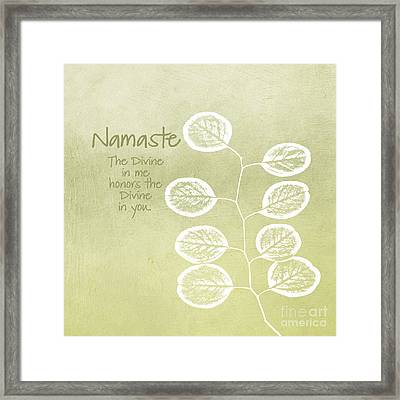 Namaste Framed Print by Linda Woods