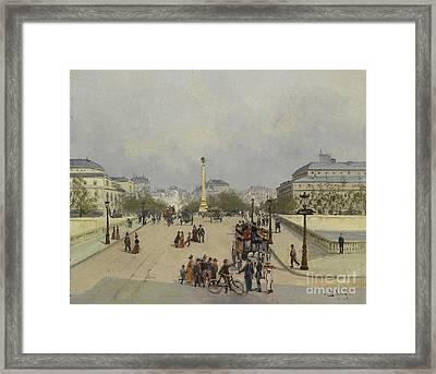 Parisian Street Scene Framed Print by Celestial Images