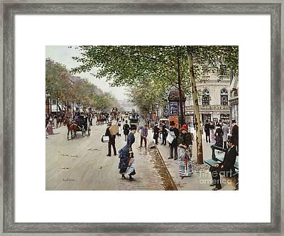 Parisian Street Scene Framed Print by Jean Beraud
