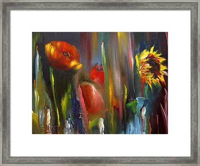 Poppy And Sunflower Framed Print by Jeff Hunter