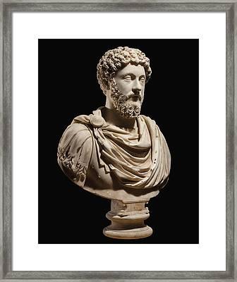 Portrait Bust Of Emperor Marcus Aurelius Framed Print by Roman School