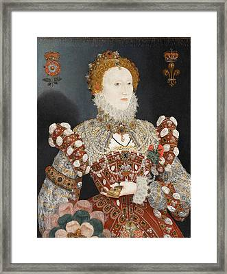 Portrait Of Queen Elizabeth I Framed Print by Nicholas Hilliard