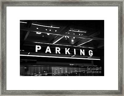 public multi level car park parkade in downtown Vancouver BC Canada Framed Print by Joe Fox