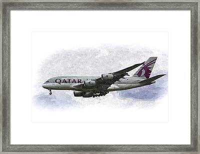 Qatar Airlines Airbus Art Framed Print by David Pyatt