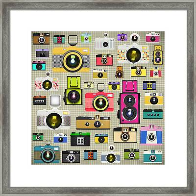 Retro Camera Pattern Framed Print by Setsiri Silapasuwanchai
