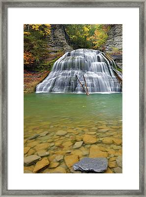 Robert Treman Sp Lower Falls Framed Print by Dean Hueber