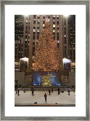 Rockefeller Center And The Famous Framed Print by Taylor S. Kennedy