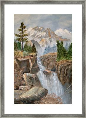 Rocky Mountain Waterfall Framed Print by Alanna Hug-McAnnally