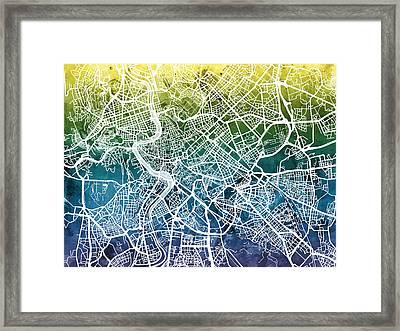 Rome Italy City Street Map Framed Print by Michael Tompsett