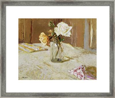 Roses In A Glass Vase Framed Print by Edouard Vuillard