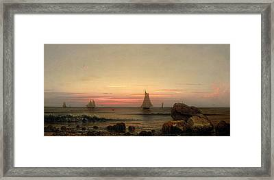 Sailing Off The Coast Framed Print by Martin Johnson Heade