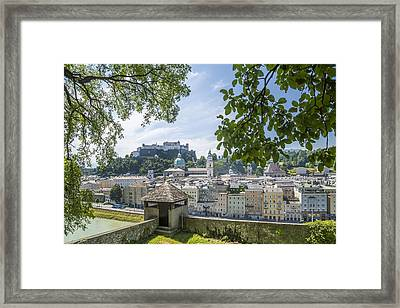 Salzburg Gorgeous Old Town With Citywall Framed Print by Melanie Viola