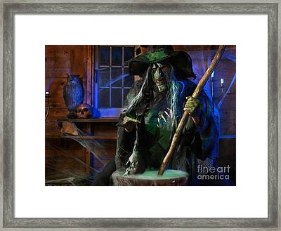 Scary Old Witch With A Cauldron Framed Print by Oleksiy Maksymenko