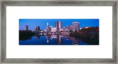 Scioto River And Columbus Ohio Skyline Framed Print by Panoramic Images